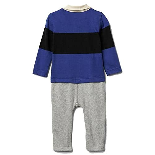 5f867dea1c4 Baby Gap Boys Blue Rugby Logo Double-Layer Shirt Romper 0-3 Months ...