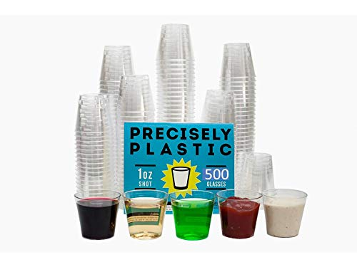 500 Shot Glasses Premium 1oz Clear Plastic Disposable Cups, Perfect Container for Jello Shots, Condiments, Tasting, Sauce, Dipping, Samples]()