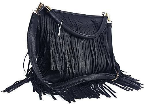 GFM Fastglas en imitation cuir à frange avec franges et glands sur les deux côtés-Sac bandoulière Style 3 - Black (KL00)