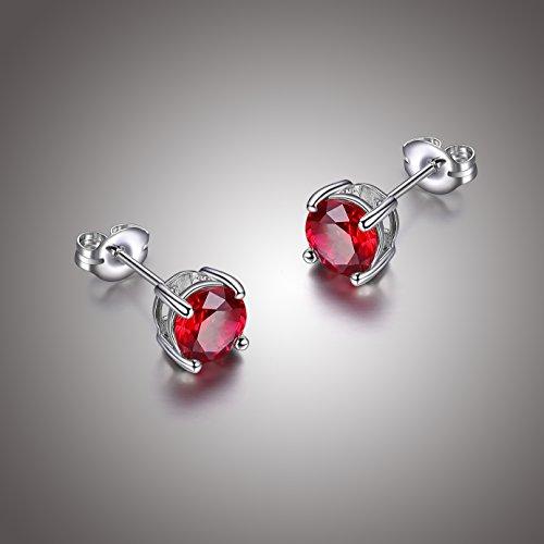 Sterling Silver Created Ruby Round July Birthstone Stud Earrings