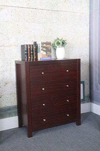 Smart home K16018-4 Contemporary Chest of Drawers, Dresser for Bedroom, Mahogany Color, 4 Drawer Chest Dresser Bedroom Furniture