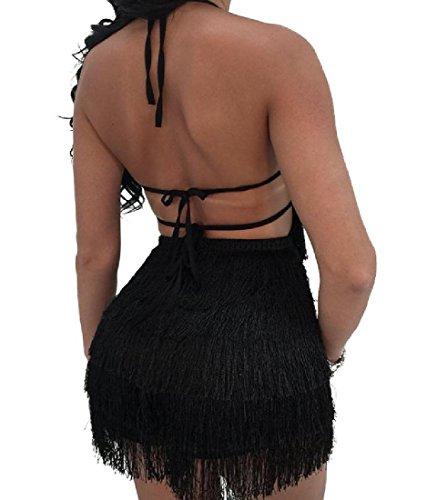 Confortables Femmes Licol Robe De Soirée Solide Frange Dos Nu Noir Moulantes