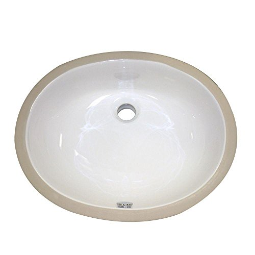 Decolav 1401-CWH Oval Vitreous China Undermount Lavatory with Overflow, White