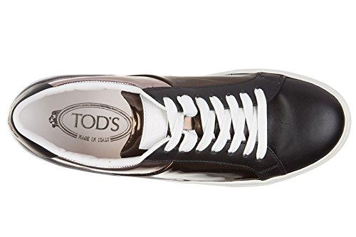 Tod's chaussures baskets sneakers femme en cuir sportivo allacciato noir