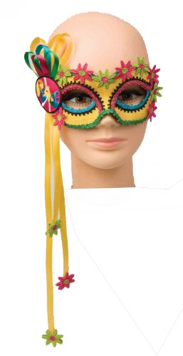 Forum Mardi Gras Costume Masquerade Half Mask 1960's Hippie Peace With Flowers, Multi-Colored, One