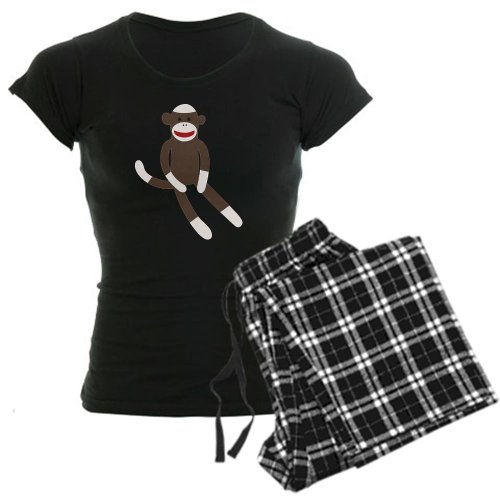 CafePress Sock Monkey Womens Novelty Cotton Pajama Set, Comfortable PJ Sleepwear -