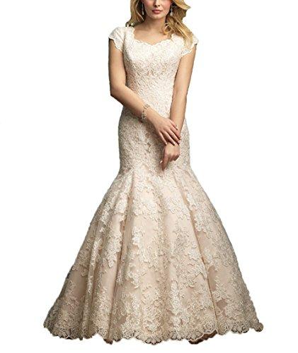 Champagne Lace Bridal Shop (Elegant Cap Sleeve Mermaid Wedding Dress Long Lace Applique Sweep Train Bridal Dress Champagne,14)