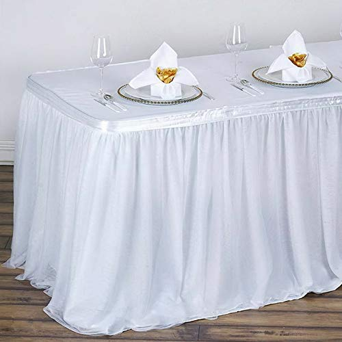 Mikash Table Skirt with 3 Layered Tulle Wedding Linens Dinner Party Decorations Sale | Model WDDNGDCRTN - 9659 | 17 ft x 29034