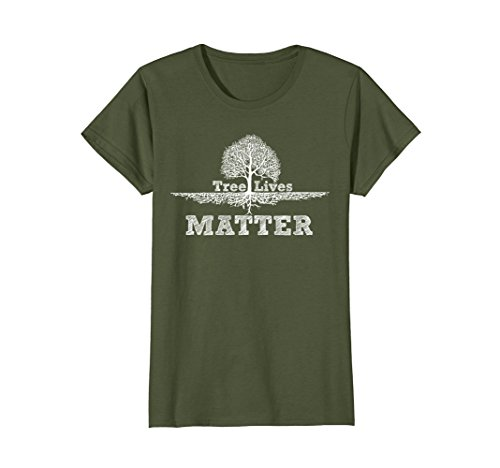 Womens Save The Trees tshirt Tree Lives Matter National Earth-Day Large Olive