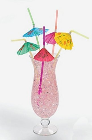 Multicolored Tropical Umbrella Straws 1 Pack