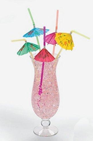 Multicolored Tropical Umbrella Straws 1 Pack