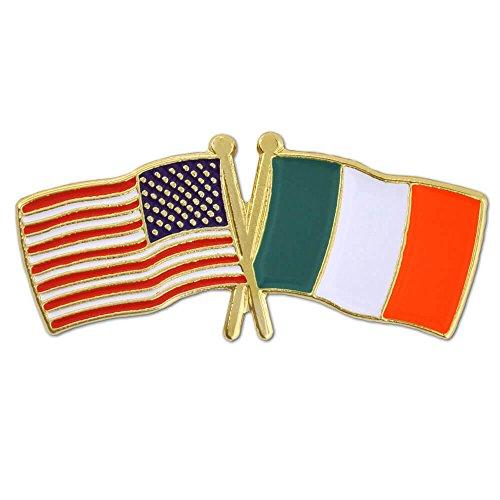 PinMart's USA and Ireland Crossed Friendship Flag Enamel Lapel Pin