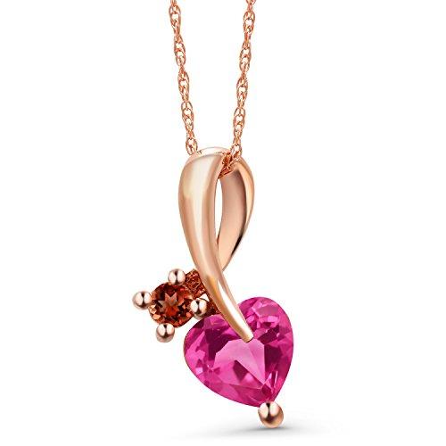 Gem Stone King 0.92 Ct Heart Shape Pink Created Sapphire Red Garnet 10K Rose Gold Pendant