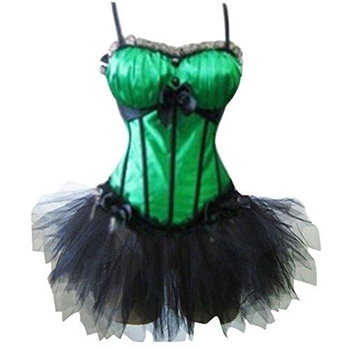 ZAMME Shapewear + falda de tutú del cuerpo de Brocade del corsé del satén de las mujeres Verde