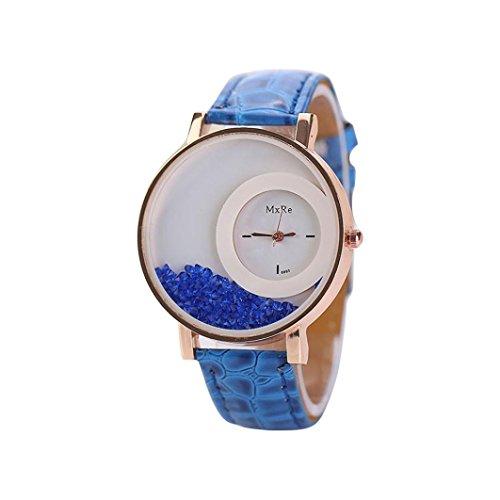 Fortan Damen Treibsand Strass Kleine Dial-Leder-Band-Armband-Armbanduhr-Blau