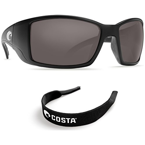 Costa Del Mar BlackFin Black - 580G Grey Glass Polarized w/ Free Costa Neoprene
