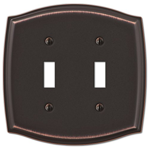 Double Toggle Switch Plate Outlet Cover Rocker Toggle Light Wall Plate - Oil Rubbed Bronze