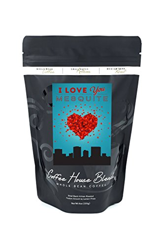 Mesquite Bean - I Love You Mesquite, Texas (8oz Whole Bean Small Batch Artisan Coffee - Bold & Strong Medium Dark Roast w/ Artwork)