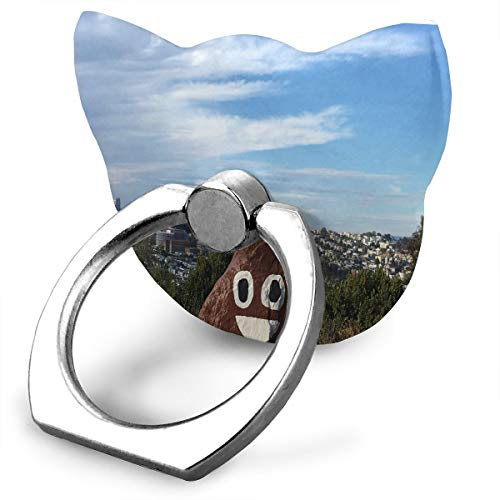 Ring Holder Poop Emoji is Looming Over San Francisco Cat Type Ring Mobile Phone Holder Rotation Finger Cat Type Ring Stand for IPad Phone X/6/6s/7/8/8 Plus/7, Galaxy S9/S9 Plus/S8/S7 Smartphone - Francisco Wood Mirror