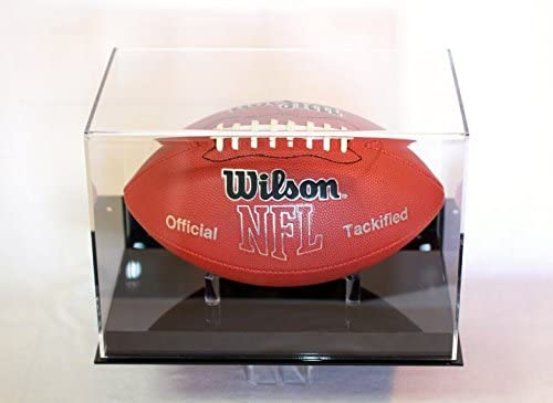 Amazon Com Football Display Case Full Size Ball Wall Mount Black Base Uv Filtering Acrylic Nfl Ncaa Sports Outdoors