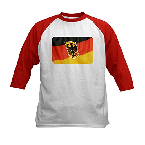 Royal Lion Kids Baseball Jersey German Flag Waving - Red/White, Medium (10-12) ()
