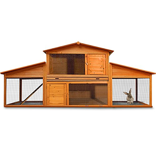 Wooden Rabbit Hutch Large Guinea Pig Animal Cage XXL Double Decker Hutch and Run