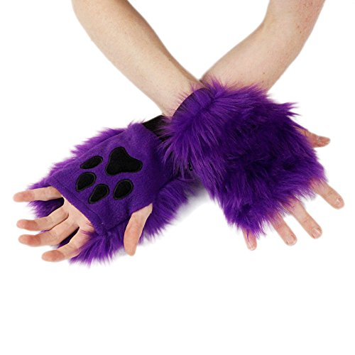 Pawstar Color Theme Pawlets Fingerless Glove Paws Furry Cat Fox Cosplay - (Fox Purple Glove)