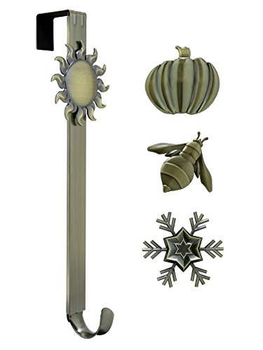 Adjustable Length Wreath Hanger with Interchangeable Icons (Antique Brass-Sun/Snowflake/Bee/Pumpkin)
