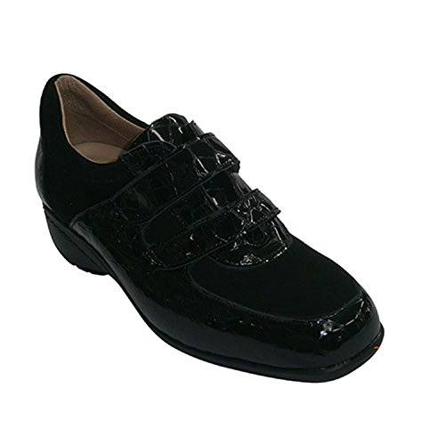 Chaussures Cuir Daim Et Roldan Noir De En Coin Brevet T1vwd
