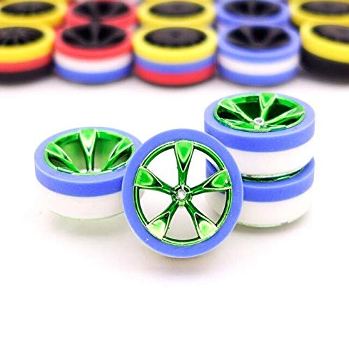 Part & Accessories 4PCS Middle Diameter Polished Carburized Tire Wheels Thin Trim Tires For Mini 4WD Racing Car Model Colorful 95245 - (Color: blue -