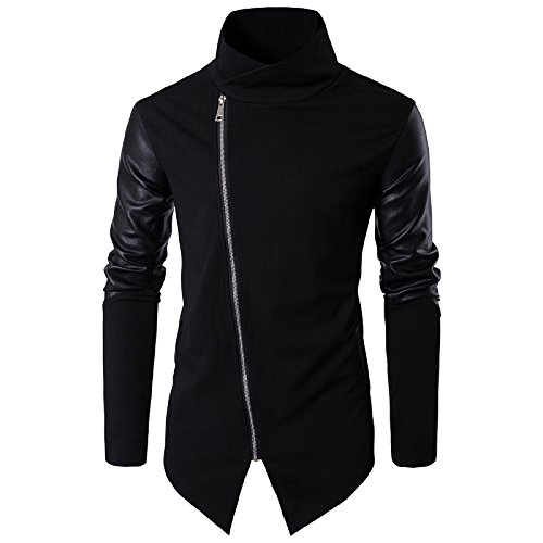 Elonglin Mens Fashion Knit Stitching Cardigan Zipped Jacket Artificial Leather Sleeves Irregular Placket