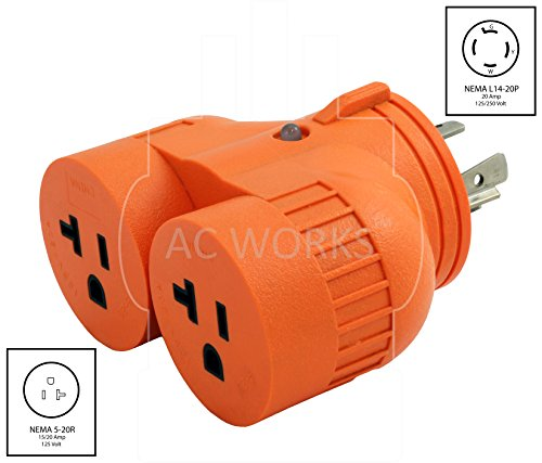 AC WORKS [ADVL1420520] Generator V-DUO Adapter NEMA L14-20P 20Amp 4-Prong Locking Plug to (2) 15/20Amp Household Connectors by AC WORKS (Image #1)
