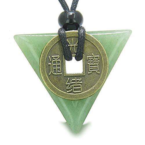BestAmulets Amulet Triangle Lucky Coin Green Quartz Arrowhead Healing Pendant -