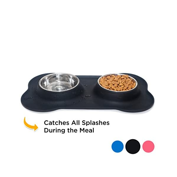 KEKS Small Dog Bowls Set of 2 Stainless Steel Bowls with Non-Skid & No Spill Silicone Stand for Small Dogs Cats Puppy & Collapsible Travel Pet Bowl 6