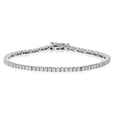 AGS Certified 2 CT I1 Clarity Diamond Bracelet 10K White Gold H-I Color