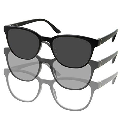 Women's Photochromic Reading Glasses | Cat Eye Transition Lens | Clear Readers Turns into Sunglasses in The Sun | UV400 (Black, 1.00) (In Cat Eye Sun Glasses)