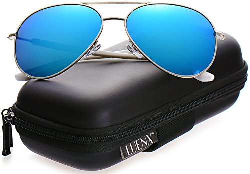 Blue Polarized Lens (LUENX Aviator Polarized Sunglasses Mirror Womens - UV 400 Protection Light Blue Lens Silver Frame)