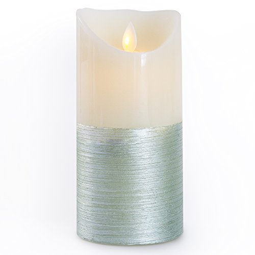 Gideon 7 Inch Flameless LED Candle - Real Wax & Real Flickering Candle Motion - with Multi-Function Remote (On/Off, Timer, Dimmer) - Vanilla Scented, 2-Tone Color Green/White