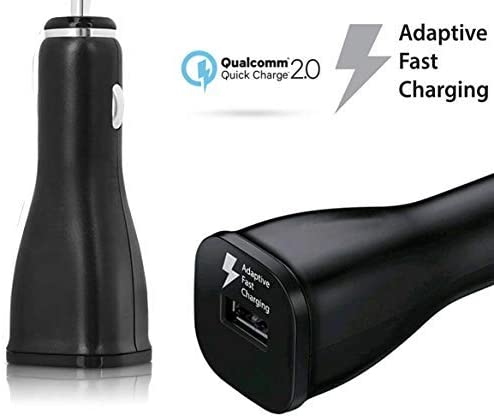 1.2M // Black Adaptive Turbo Fast 15W Car Charger for Samsung Galaxy Note 10 with Quick Charge 2 Detachable Hi-Power USB Type-C Cable!