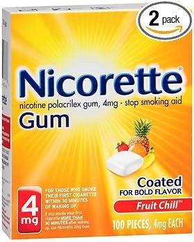 Nicorette Gum 4 mg Fruit Chill - 100 ct, Pack of 2