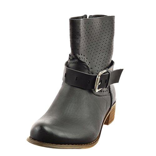 Sopily - Chaussure Mode Bottine cavalier Cheville femmes perforée boucle Talon bloc 4 CM - Intérieur synthétique - Noir