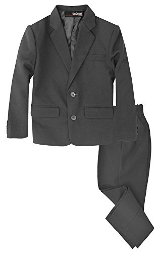 G218 Boys 2 Piece Suit Set Toddler to Teen (7, Charcoal)