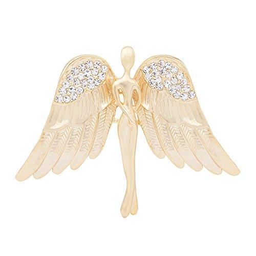 OBONNIE Guardian Angel Jewelry Women's Crystal Flying Angel Wings Brooch Pin Wedding Bouquet Lapel Pin (Gold)