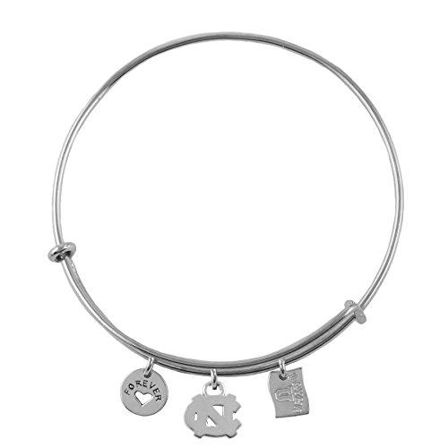 NCAA North Carolina Tar Heels .925 Sterling Silver Adjustable Bangle Bracelet with Charms, UNC Expandable Bracelet