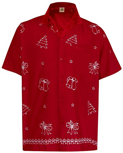 La Leela Christmas Aloha Hawaiian Tropical Smooth Rayon Father Cheap Solid plain male Short Sleeves Button Down Tropical Shirts Red