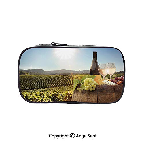 Big Capacity Pencil Case 1L Storage,White Wine with Barrel on Famous Vineyard in Chianti Tuscany Agriculture Decorative Green Brown Light Blue 5.1inches,Desk Pen Pencil Marker Stationery Organizer Wi