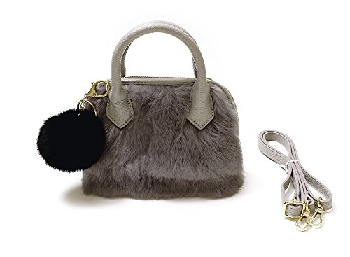 Price comparison product image FRILLS Girls Furry Purse - Perfect Handbag for kids, teens and women! Leather purse with fur and shoulder strap! (Gray)