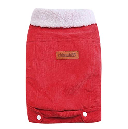 Pet Sweater,JHKUNO Pet Corduroy Jumper Furry Collar Hoodie Pet Winter Clothes Warm and Soft Dog Coats Dog Jackets