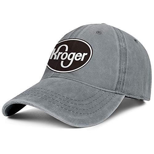 LHSPOSIFD Unisex Men Denim Baseball Hats Hipster Adjustable Mesh Driving Kroger-Logo-Black-and-White-Flat Caps