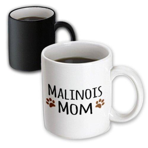 Belgian Malinois Mug (3dRose Mug Malinois Mom - Belgian Malinois dog breed - muddy brown doggie paw prints - doggy lover - pet owner (mug_154071_3) - 11oz - Transforming, Black/White)